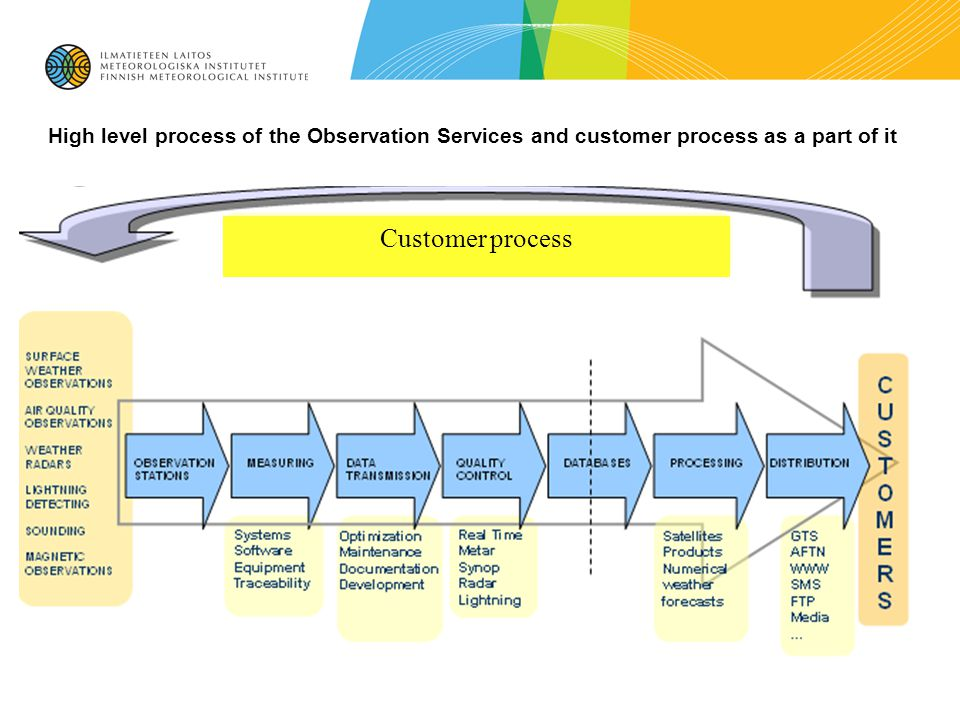 High level process of the Observation Services and customer process as a part of it Customer process