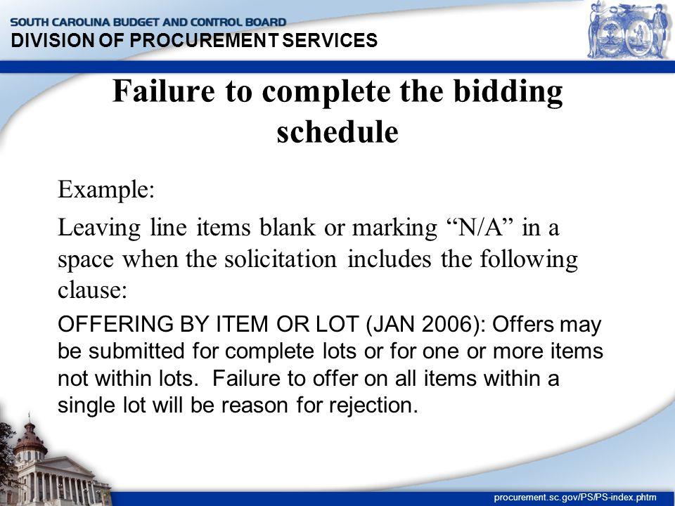 DIVISION OF PROCUREMENT SERVICES procurement.sc.gov/PS/PS-index.phtm Improper Extension of Unit Prices Regulation 19-445.2085.