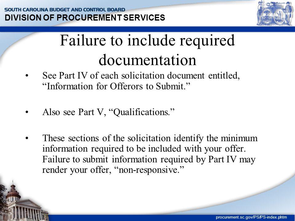 DIVISION OF PROCUREMENT SERVICES procurement.sc.gov/PS/PS-index.phtm Rejection of Individual Bids Regulation 19-445.2070 A.