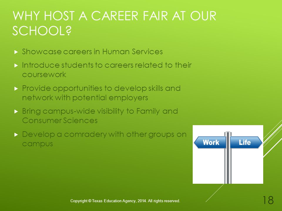 WHY HOST A CAREER FAIR AT OUR SCHOOL. Copyright © Texas Education Agency,
