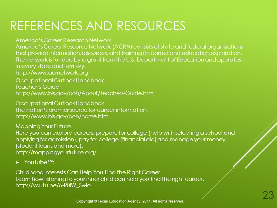 REFERENCES AND RESOURCES Americas Career Research Network Americas Career Resource Network (ACRN) consists of state and federal organizations that provide information, resources, and training on career and education exploration.