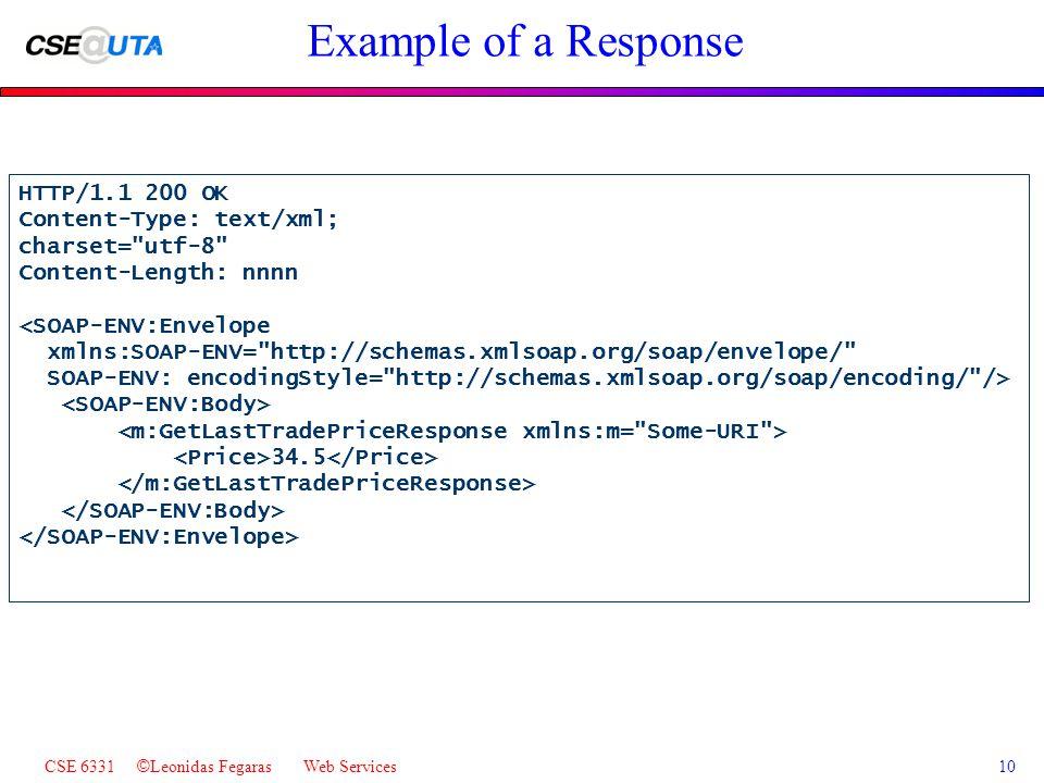 CSE 6331 © Leonidas Fegaras Web Services10 Example of a Response HTTP/1.1 200 OK Content-Type: text/xml; charset= utf-8 Content-Length: nnnn <SOAP-ENV:Envelope xmlns:SOAP-ENV= http://schemas.xmlsoap.org/soap/envelope/ SOAP-ENV: encodingStyle= http://schemas.xmlsoap.org/soap/encoding/ /> 34.5