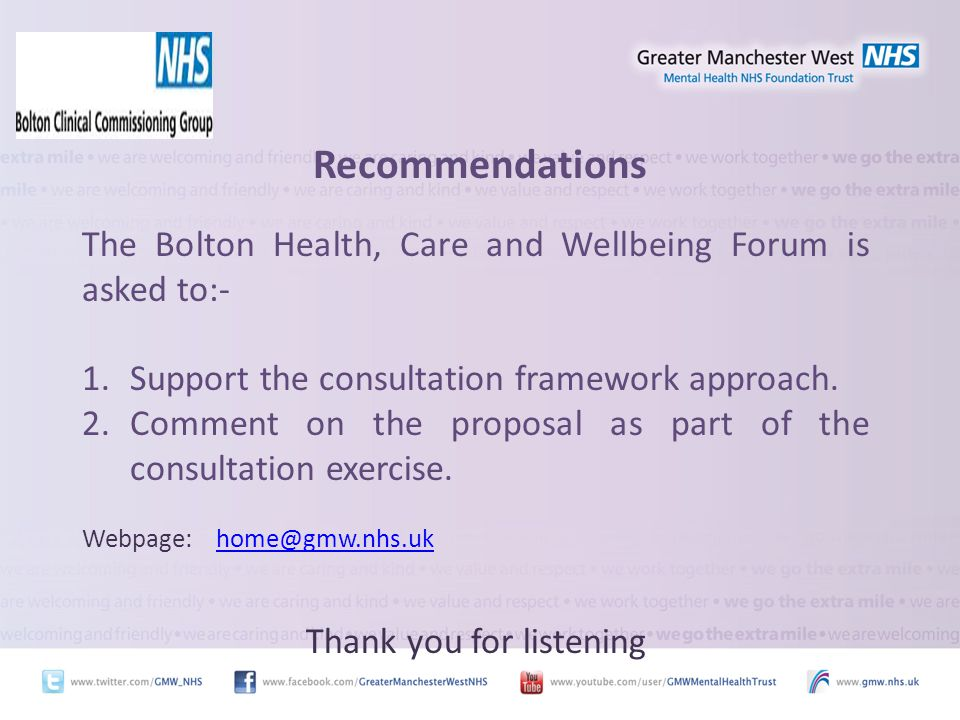 Recommendations The Bolton Health, Care and Wellbeing Forum is asked to:- 1.Support the consultation framework approach.