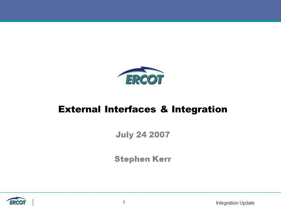Integration Update 2 Agenda Updates to External Interface Specification –New Services –Sandbox & EDS deployment –Notifications & Listeners & Security Web Service testing Integration Design Process –Artifacts –Process –Exceptions