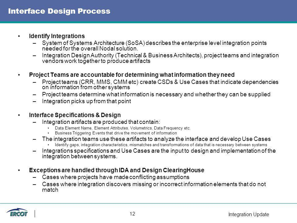 Integration Update 12 Interface Design Process Identify Integrations –System of Systems Architecture (SoSA) describes the enterprise level integration points needed for the overall Nodal solution.