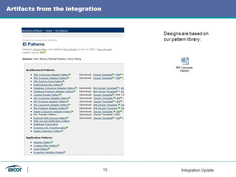 Integration Update 15 Artifacts from the integration Designs are based on our pattern library: