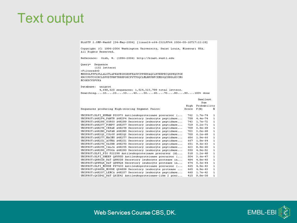 Web Services Course CBS, DK. Text output