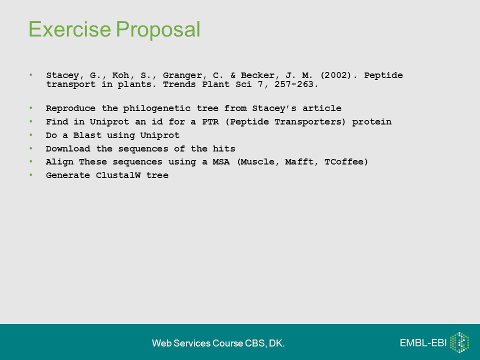 Web Services Course CBS, DK. Exercise Proposal Stacey, G., Koh, S., Granger, C.