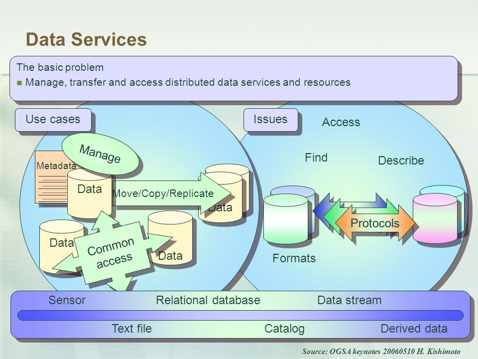 Issues Find Describe Access Data Formats Protocols Use cases Data Move/Copy/Replicate Metadata Data Manage Common access Data Services The basic problem Manage, transfer and access distributed data services and resources The basic problem Manage, transfer and access distributed data services and resources Derived dataCatalog SensorData stream Text file Relational database Source: OGSA keynotes 20060510 H.
