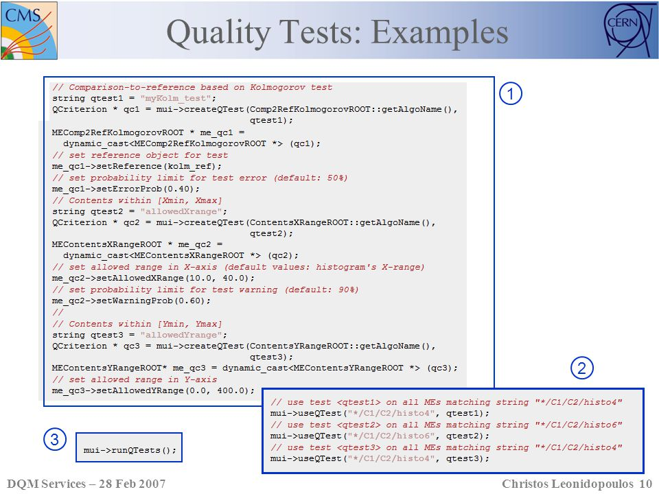 DQM Services – 28 Feb 2007Christos Leonidopoulos 10 1 Quality Tests: Examples 23