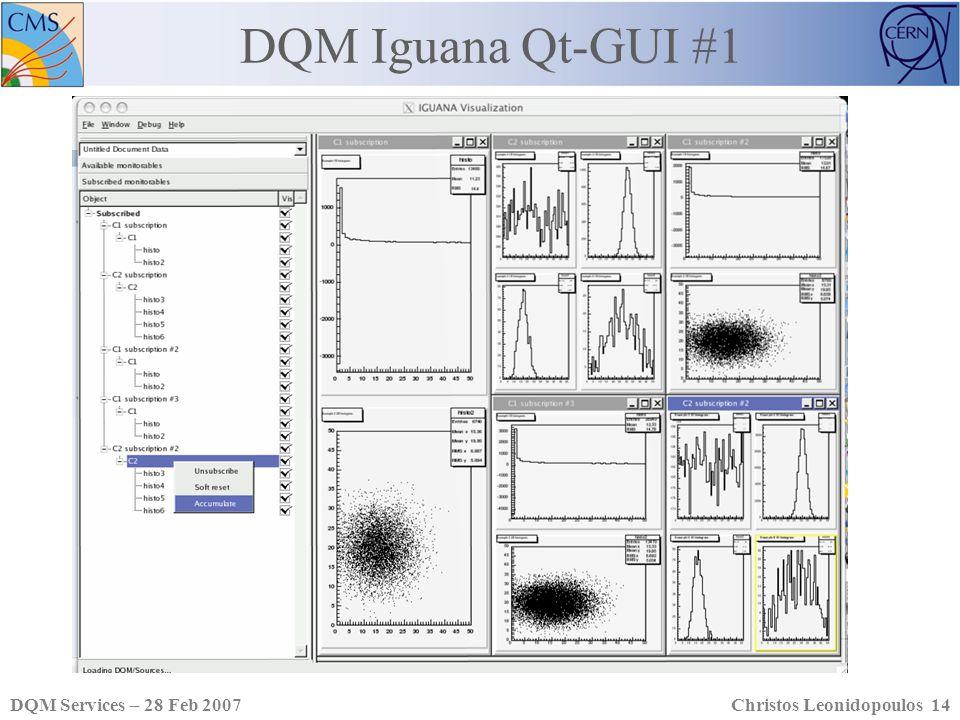 DQM Services – 28 Feb 2007Christos Leonidopoulos 14 DQM Iguana Qt-GUI #1