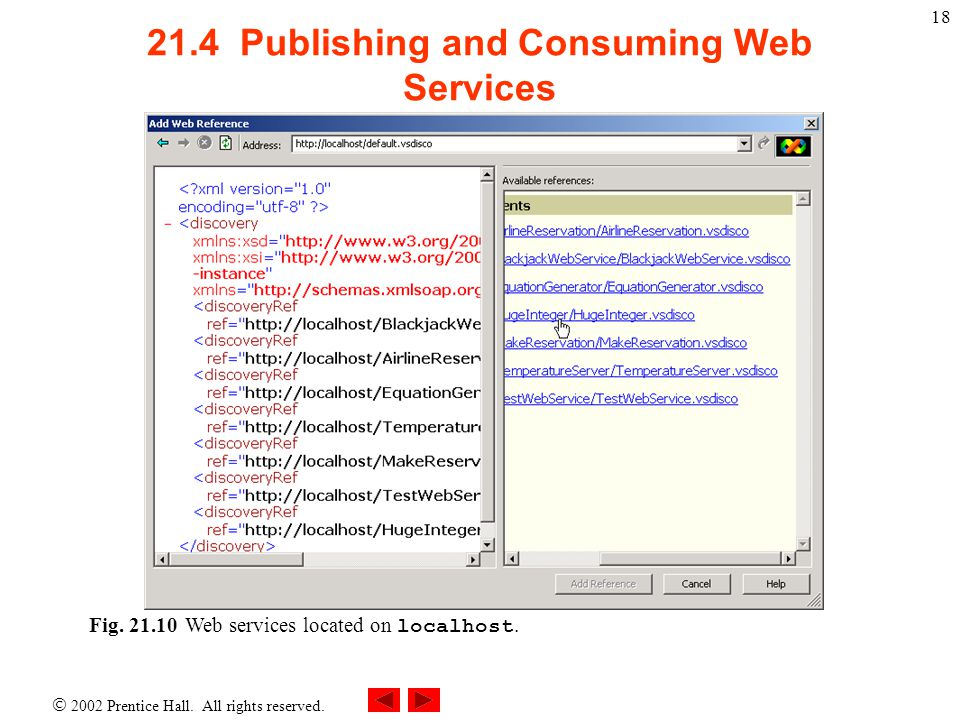 2002 Prentice Hall.All rights reserved. 19 21.4 Publishing and Consuming Web Services Fig.