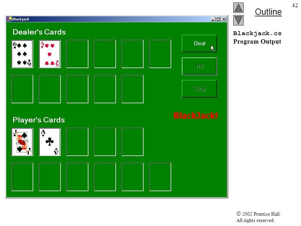 2002 Prentice Hall. All rights reserved. Outline 43 Blackjack.cs Program Output