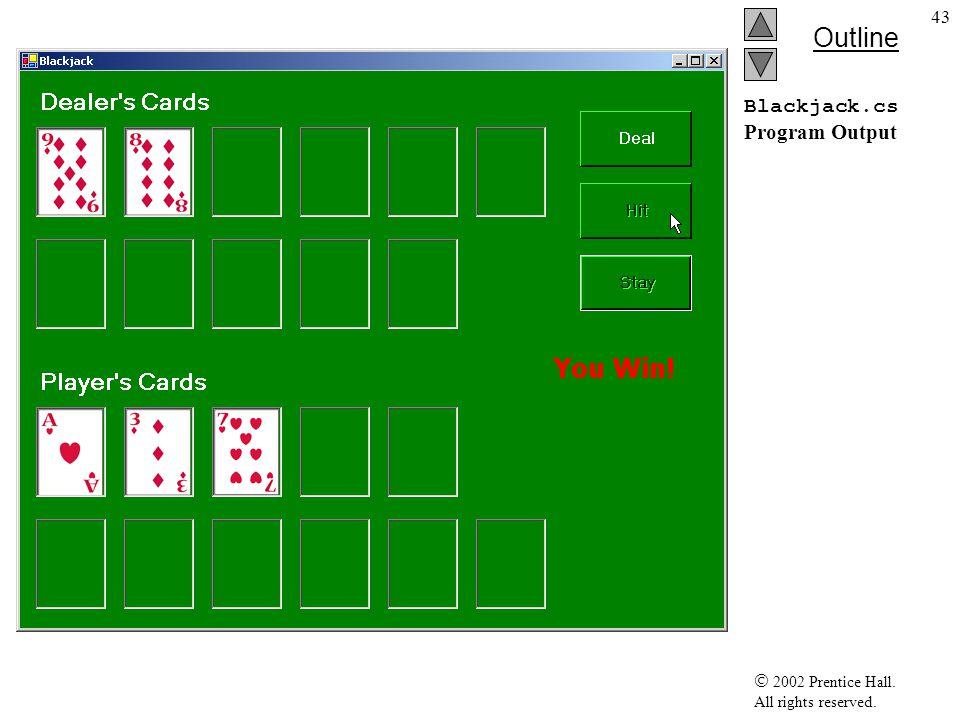 2002 Prentice Hall. All rights reserved. Outline 44 Blackjack.cs Program Output