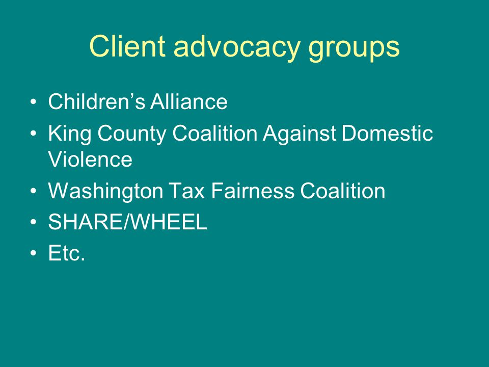 Client advocacy groups Childrens Alliance King County Coalition Against Domestic Violence Washington Tax Fairness Coalition SHARE/WHEEL Etc.