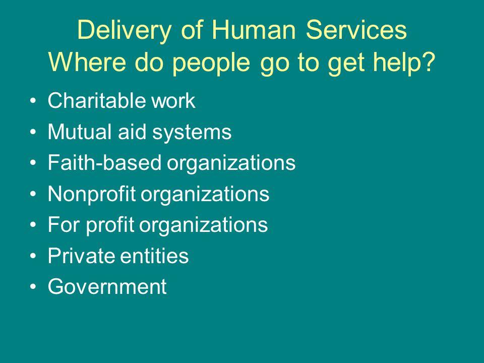 Delivery of Human Services Where do people go to get help.