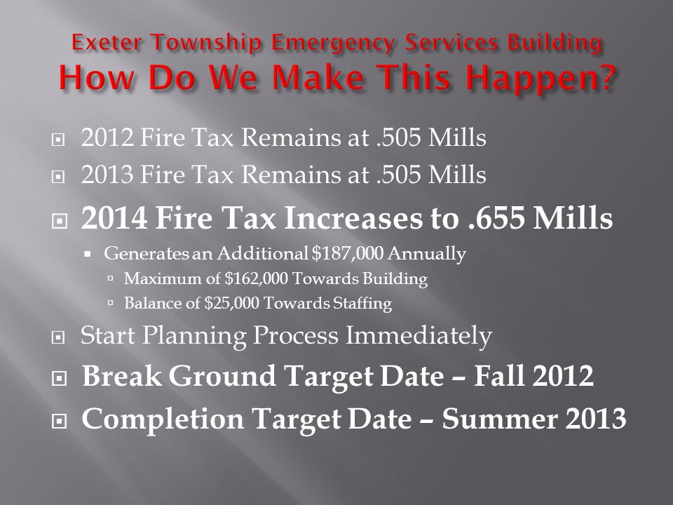 2012 Fire Tax Remains at.505 Mills 2013 Fire Tax Remains at.505 Mills 2014 Fire Tax Increases to.655 Mills Generates an Additional $187,000 Annually Maximum of $162,000 Towards Building Balance of $25,000 Towards Staffing Start Planning Process Immediately Break Ground Target Date – Fall 2012 Completion Target Date – Summer 2013