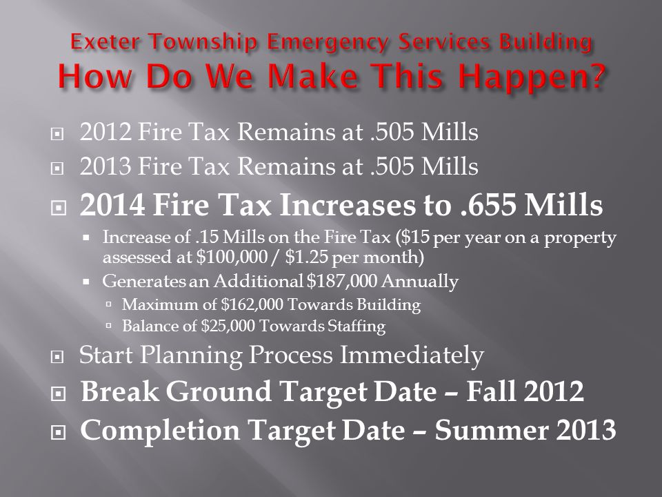 2012 Fire Tax Remains at.505 Mills 2013 Fire Tax Remains at.505 Mills 2014 Fire Tax Increases to.655 Mills Increase of.15 Mills on the Fire Tax ($15 per year on a property assessed at $100,000 / $1.25 per month) Generates an Additional $187,000 Annually Maximum of $162,000 Towards Building Balance of $25,000 Towards Staffing Start Planning Process Immediately Break Ground Target Date – Fall 2012 Completion Target Date – Summer 2013