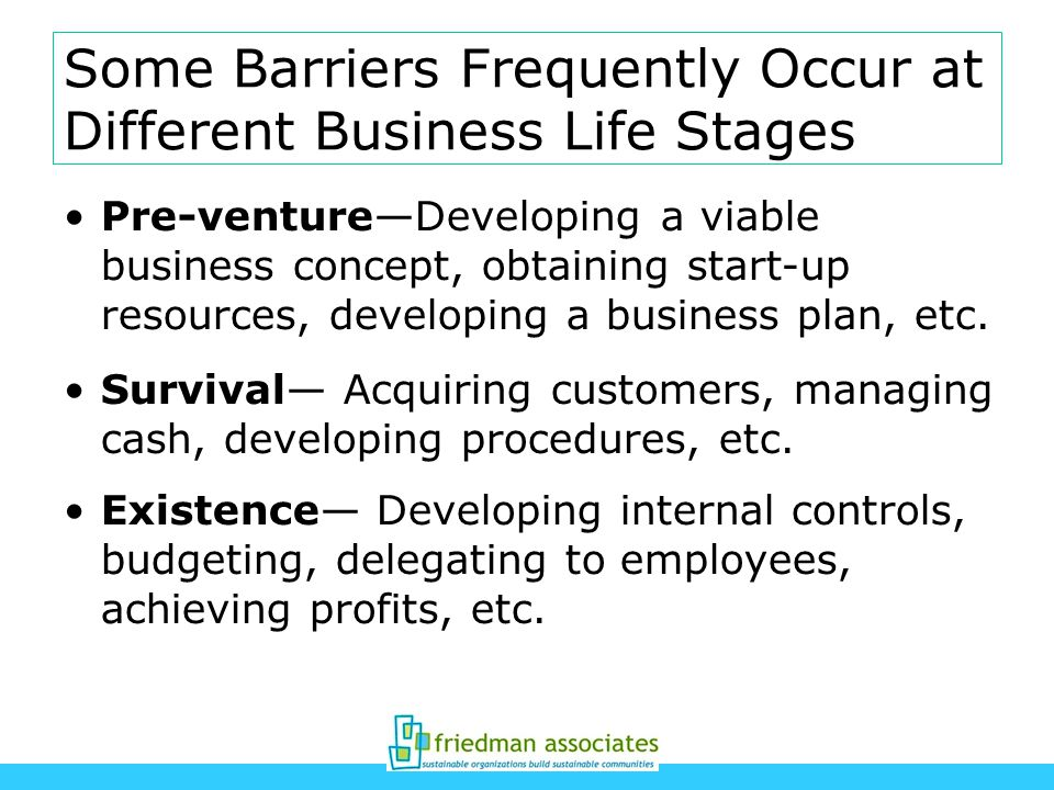 Some Barriers Frequently Occur at Different Business Life Stages Pre-ventureDeveloping a viable business concept, obtaining start-up resources, developing a business plan, etc.