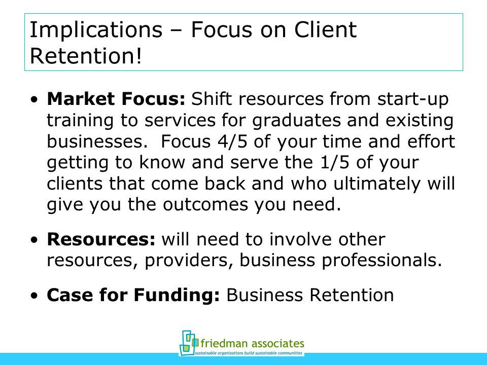 Implications – Focus on Client Retention! Market Focus: Shift resources from start-up training to services for graduates and existing businesses. Focu