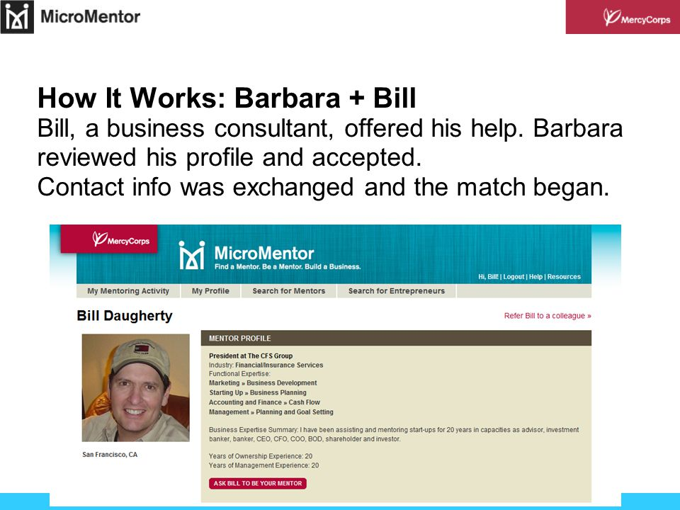 How It Works: Barbara + Bill Bill, a business consultant, offered his help.