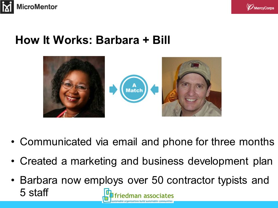 How It Works: Barbara + Bill Communicated via  and phone for three months Created a marketing and business development plan Barbara now employs over 50 contractor typists and 5 staff