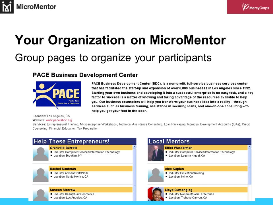 Your Organization on MicroMentor Group pages to organize your participants
