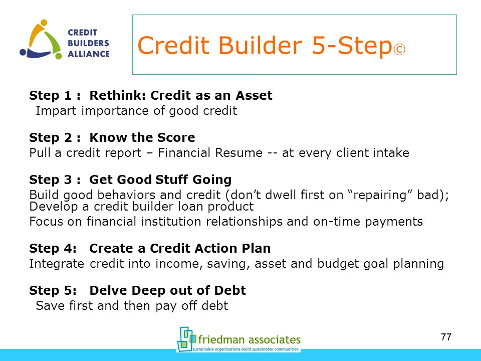 77 Credit Builder 5-Step © Step 1 : Rethink: Credit as an Asset Impart importance of good credit Step 2 : Know the Score Pull a credit report – Financial Resume -- at every client intake Step 3 : Get Good Stuff Going Build good behaviors and credit (dont dwell first on repairing bad); Develop a credit builder loan product Focus on financial institution relationships and on-time payments Step 4: Create a Credit Action Plan Integrate credit into income, saving, asset and budget goal planning Step 5: Delve Deep out of Debt Save first and then pay off debt