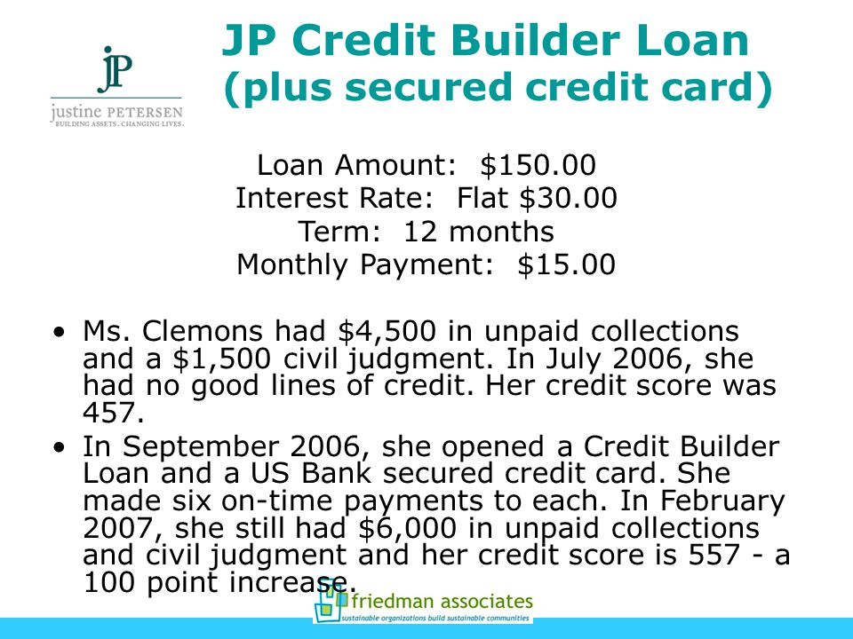 JP Credit Builder Loan (plus secured credit card) Loan Amount: $ Interest Rate: Flat $30.00 Term: 12 months Monthly Payment: $15.00 Ms.