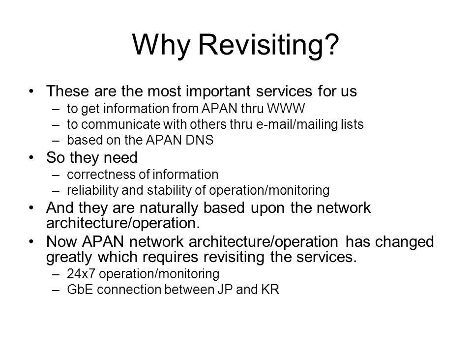 Why Revisiting.