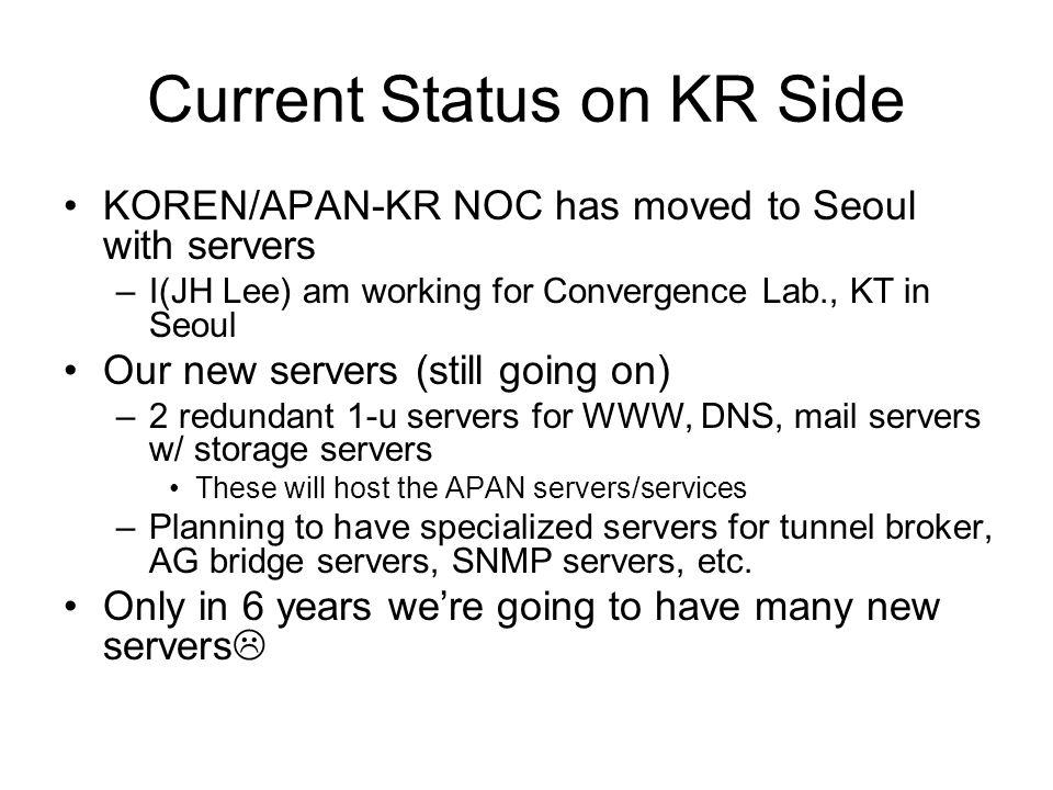 Current Status on KR Side KOREN/APAN-KR NOC has moved to Seoul with servers –I(JH Lee) am working for Convergence Lab., KT in Seoul Our new servers (still going on) –2 redundant 1-u servers for WWW, DNS, mail servers w/ storage servers These will host the APAN servers/services –Planning to have specialized servers for tunnel broker, AG bridge servers, SNMP servers, etc.