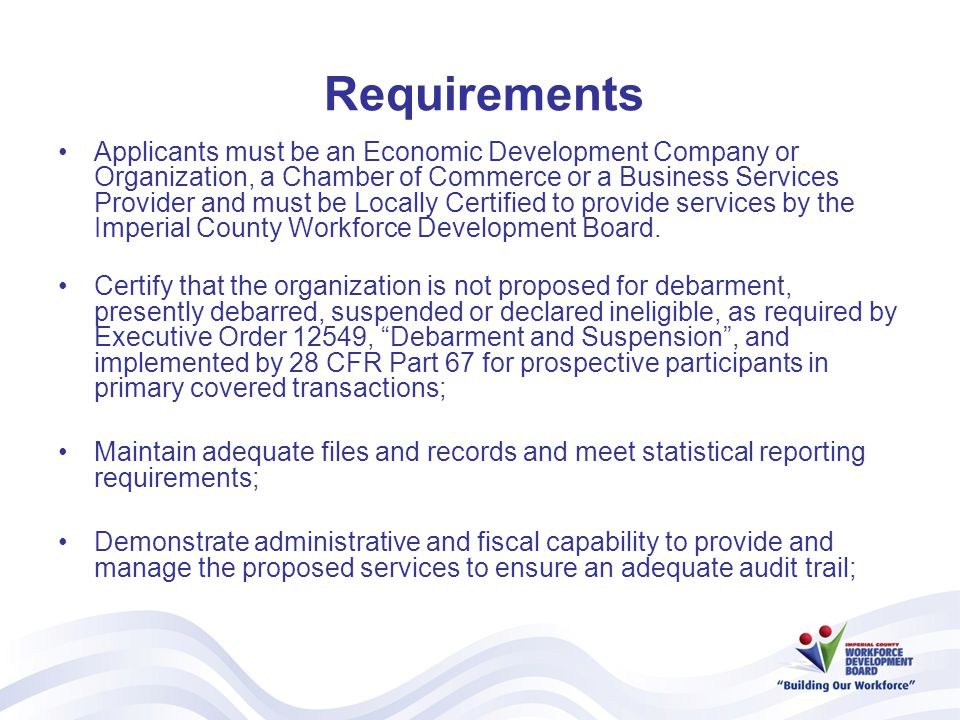 Requirements (cont.) Ability, experience and methodology for executing all the services outline in the RFQ.