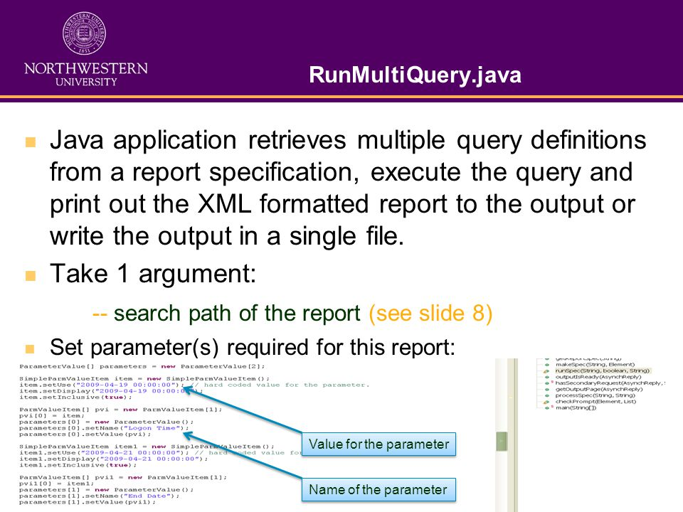 RunMultiQuery.java Java application retrieves multiple query definitions from a report specification, execute the query and print out the XML formatted report to the output or write the output in a single file.