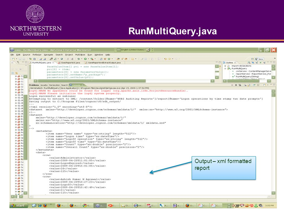 RunMultiQuery.java Output – xml formatted report