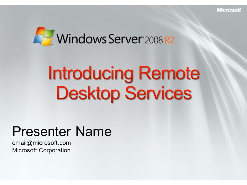 Presenter Name email@microsoft.com Microsoft Corporation