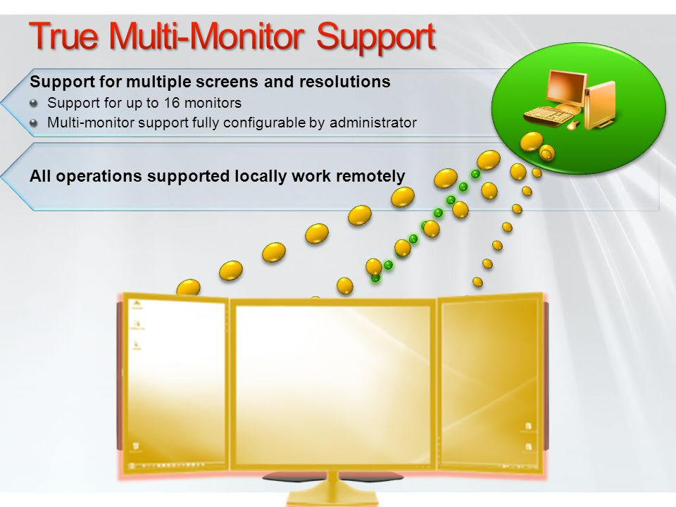 Support for multiple screens and resolutions Support for up to 16 monitors Multi-monitor support fully configurable by administrator All operations supported locally work remotely