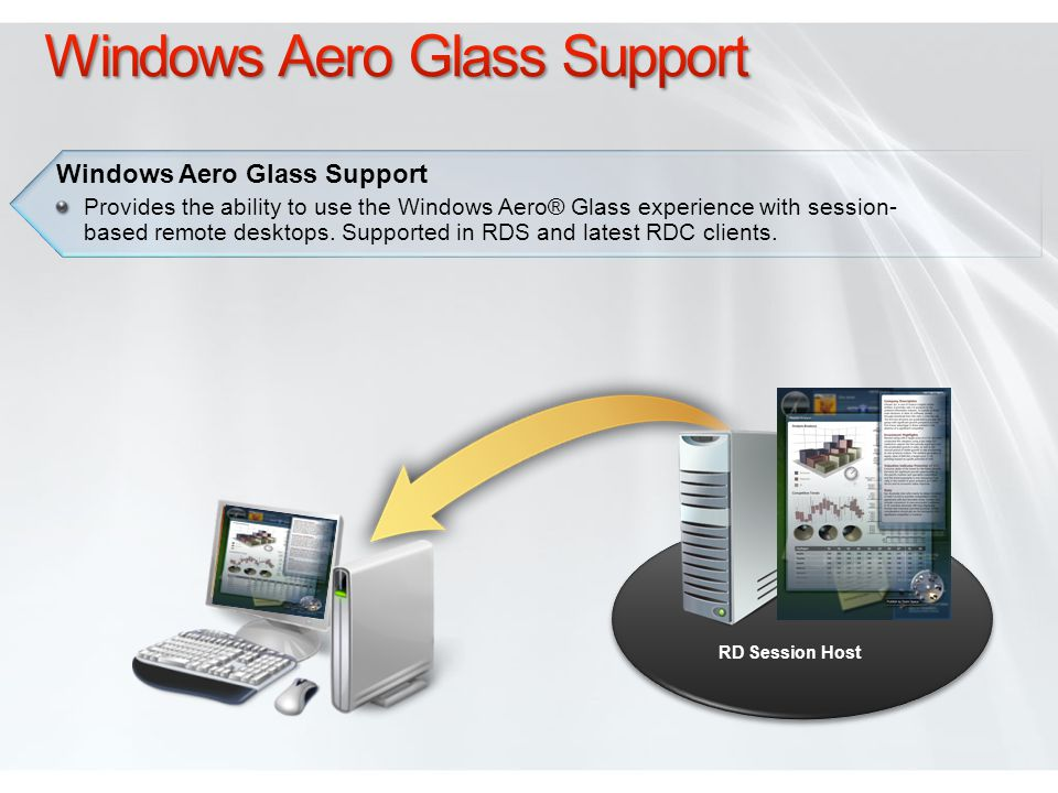 RD Session Host Windows Aero Glass Support Provides the ability to use the Windows Aero® Glass experience with session- based remote desktops.
