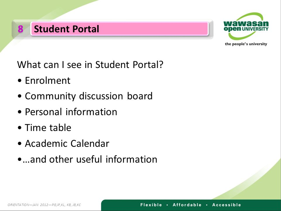 8 8 Student Portal What can I see in Student Portal.