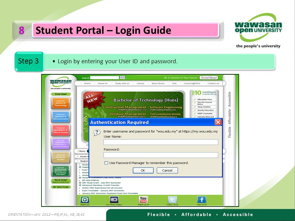 8 8 Student Portal – Login Guide Login by entering your User ID and password.