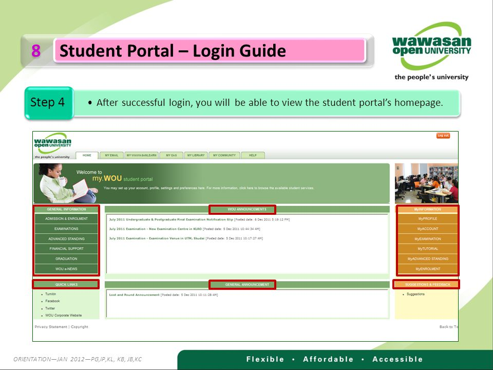 8 8 Student Portal – Login Guide After successful login, you will be able to view the student portals homepage.