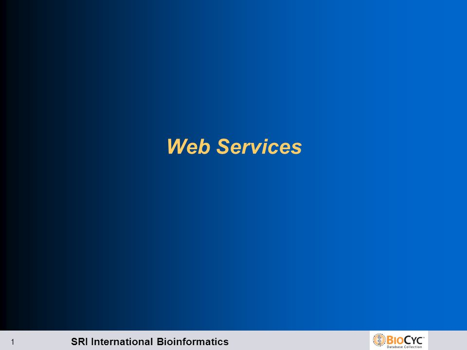 SRI International Bioinformatics 2 Kinds of Web Services Data retrieval Web Services l PTools-XML l BioPAX Visualization Web Services l Overview highlights l Generating pathway images l Adding omics data to overviews or pathways Resources: l http://biocyc.org/web-services.shtml l Help -> Website User Guide