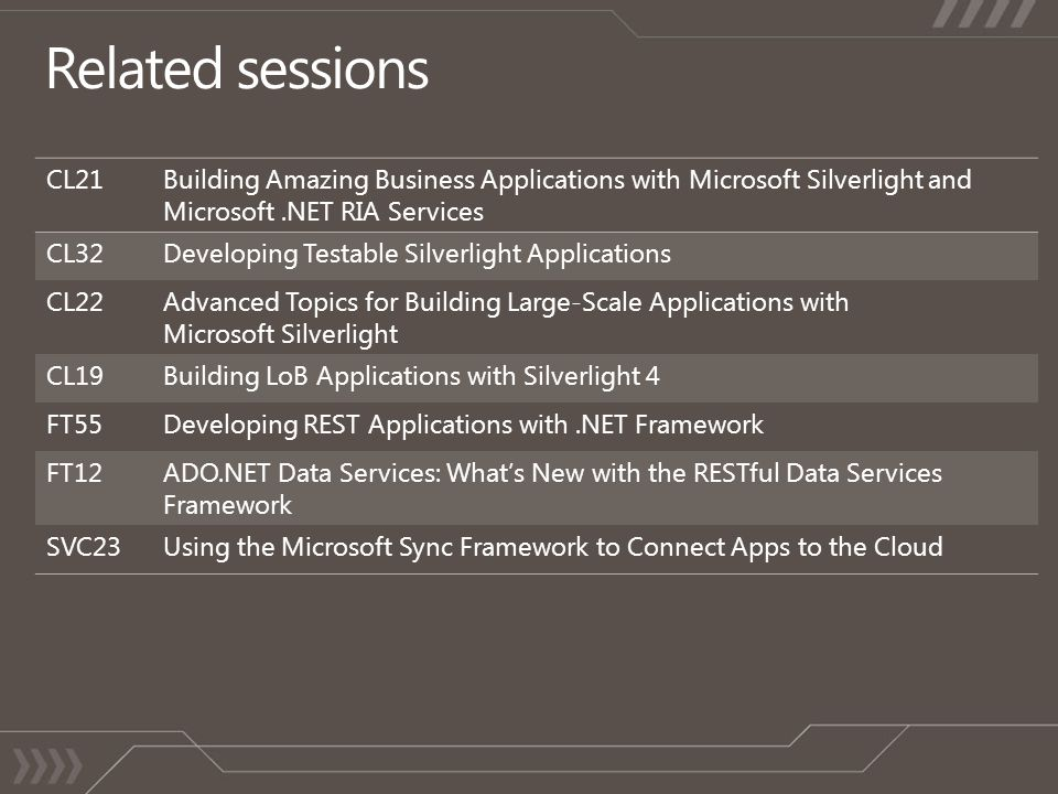 CL21Building Amazing Business Applications with Microsoft Silverlight and Microsoft.NET RIA Services CL32Developing Testable Silverlight Applications CL22Advanced Topics for Building Large-Scale Applications with Microsoft Silverlight CL19Building LoB Applications with Silverlight 4 FT55Developing REST Applications with.NET Framework FT12ADO.NET Data Services: Whats New with the RESTful Data Services Framework SVC23Using the Microsoft Sync Framework to Connect Apps to the Cloud