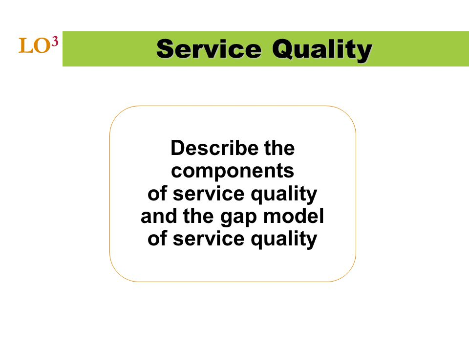 Describe the components of service quality and the gap model of service quality Service Quality LO 3