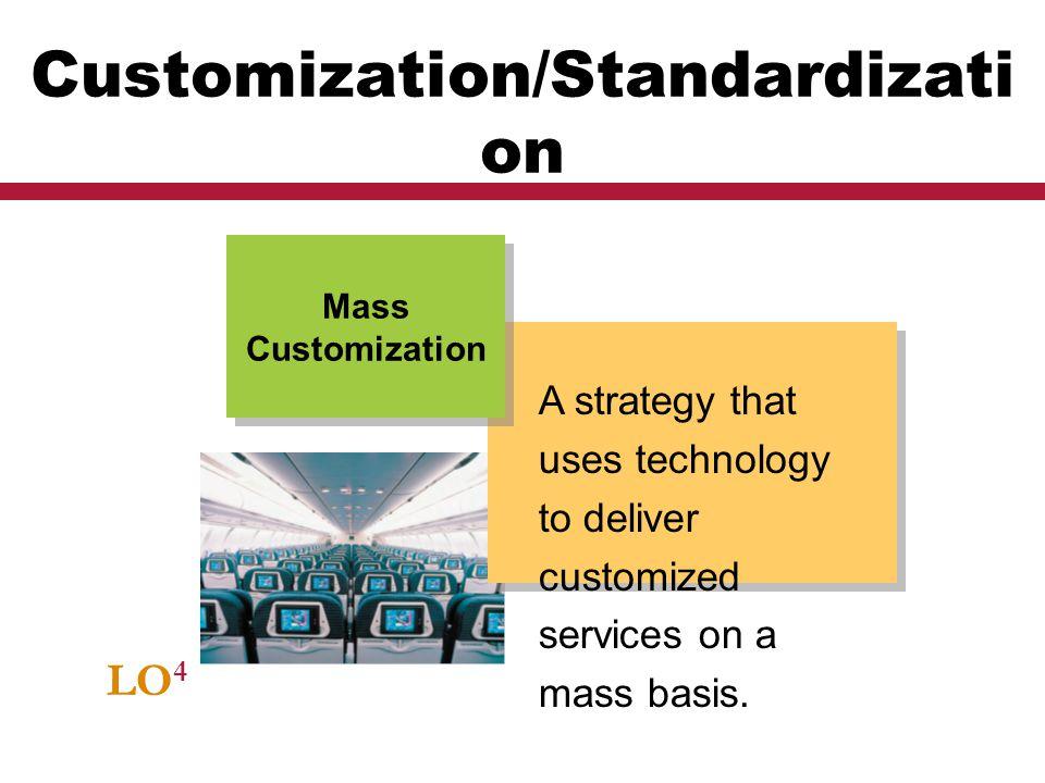 LO 4 Customization/Standardizati on A strategy that uses technology to deliver customized services on a mass basis. Mass Customization