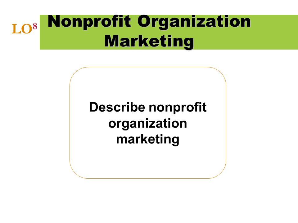 Describe nonprofit organization marketing Nonprofit Organization Marketing LO 8