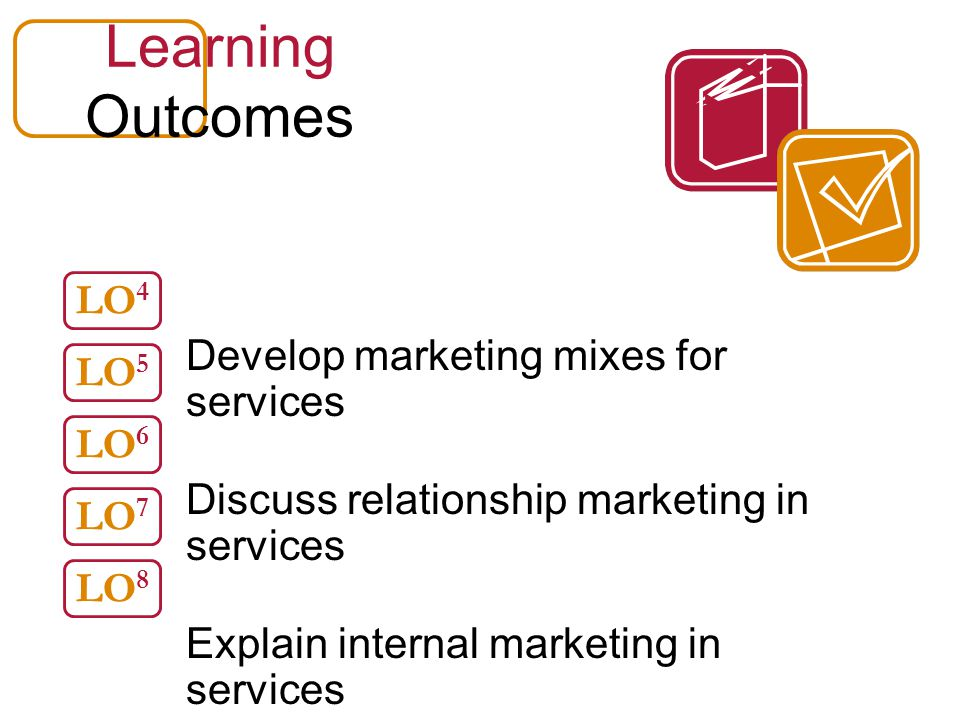 Learning Outcomes Develop marketing mixes for services Discuss relationship marketing in services Explain internal marketing in services Discuss globa