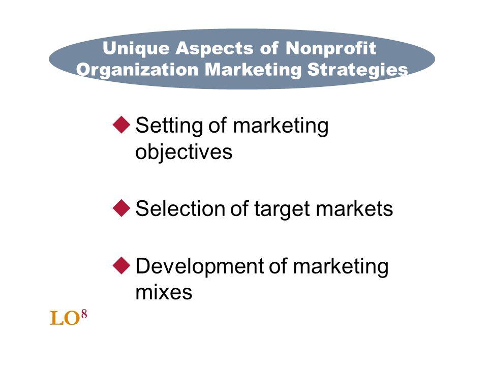 Unique Aspects of Nonprofit Organization Marketing Strategies LO 8 Setting of marketing objectives Selection of target markets Development of marketin