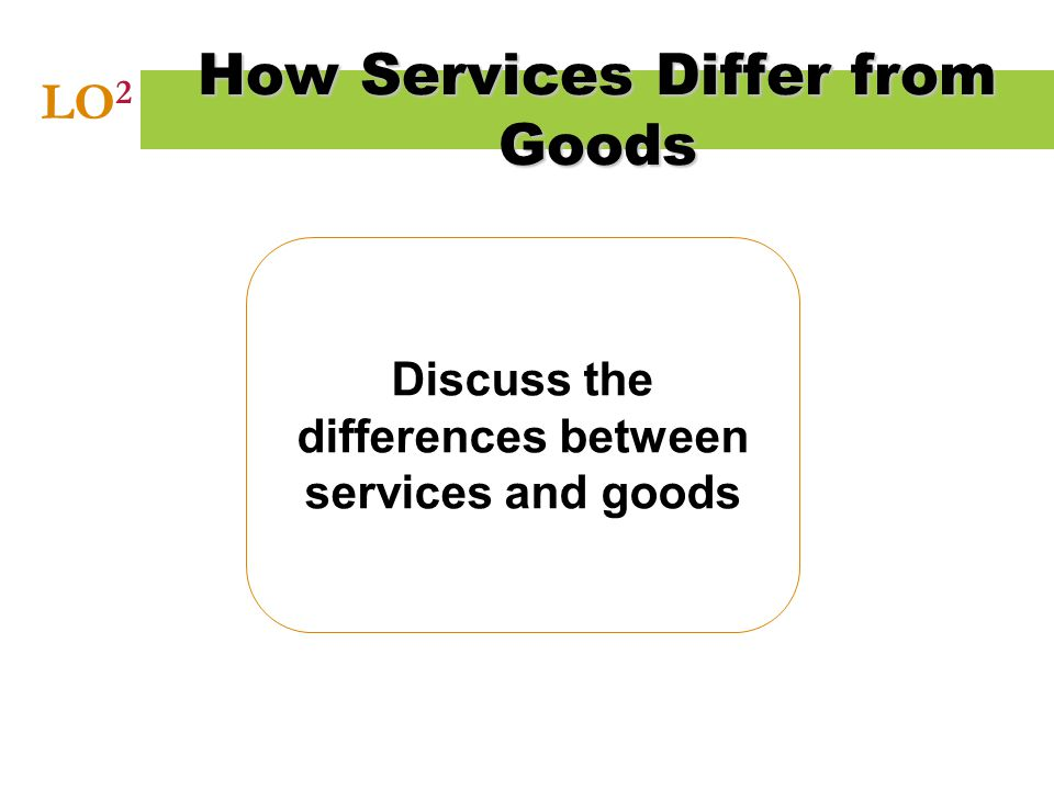 Discuss the differences between services and goods How Services Differ from Goods LO 2