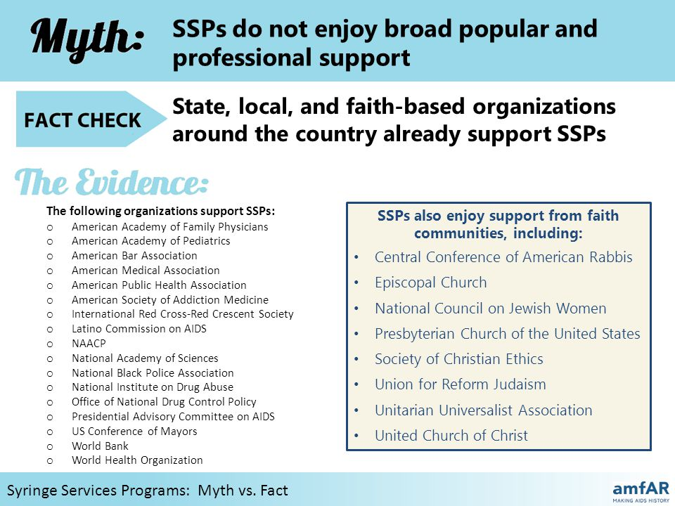 SSPs do not enjoy broad popular and professional support Syringe Services Programs: Myth vs.