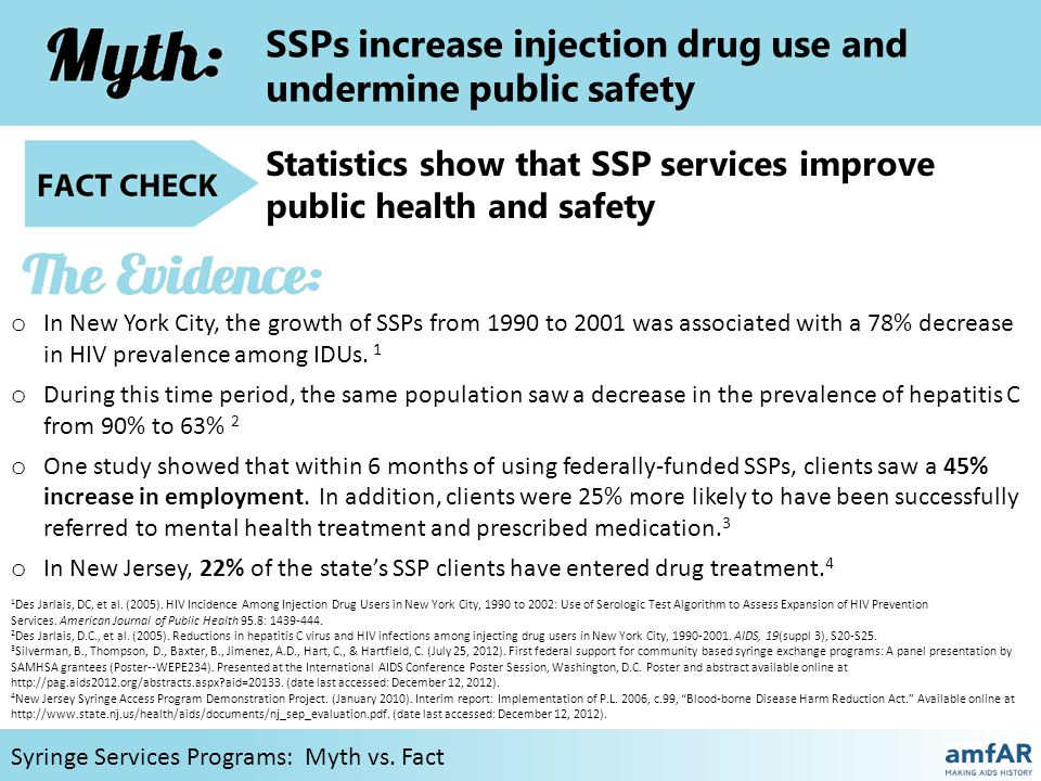 SSPs increase injection drug use and undermine public safety SSPs connect IDUs with treatment and are associated with reduced crime Syringe Services Programs: Myth vs.